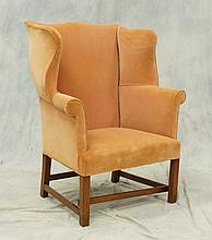 Chippendale elmwood wing chair, nicely scrolled arms and shaped wings, 18th c, 44