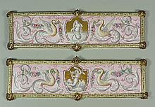 Pair of Viennese enameled plaques, central medallion surrounded by exotic birds, 6 1/4