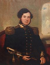 19th century school portrait of a naval officer holding a navy officer's sword with lion head pommel and gold braids, with gold shou..