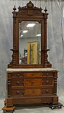 2 pc American Renaissance Revival walnut bedroom suite consisting of a dresser and a bed, 1880, dresser with a pierced carved crest ...