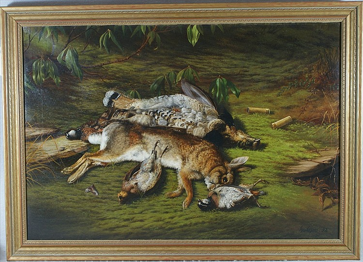George Cope, American, 1855-1929, o/c, Rabbits and Game Birds, 22