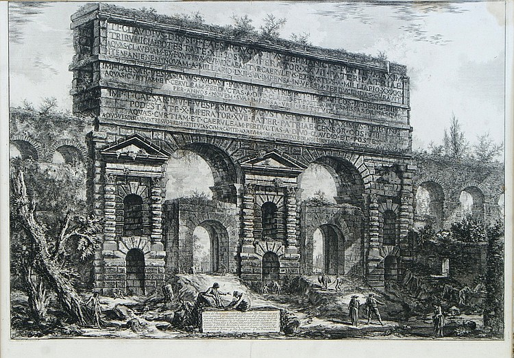 After Giovanni Battista Piranesi, b&w 19th c engraving,