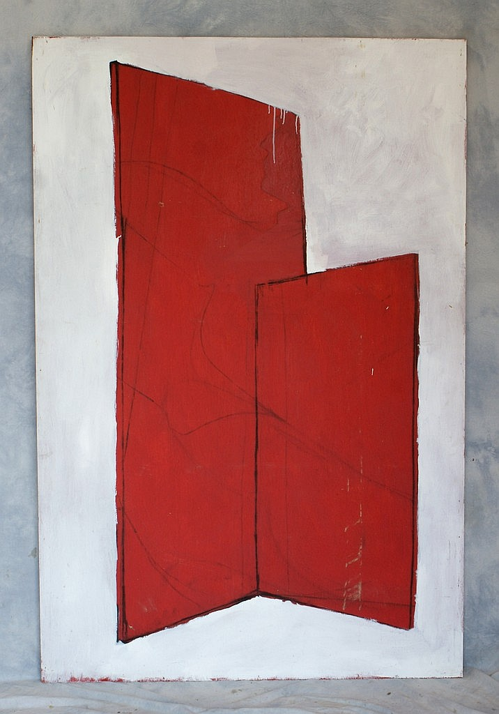 Tom Bostelle, American, PA, 1921-2005, o/l Red abstract on white, 72