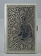 Indian Silver Cigarette Case with nude woman on cover and mythical birds and elephant to obverse, 4.7 Troy Oz, 4-3/4