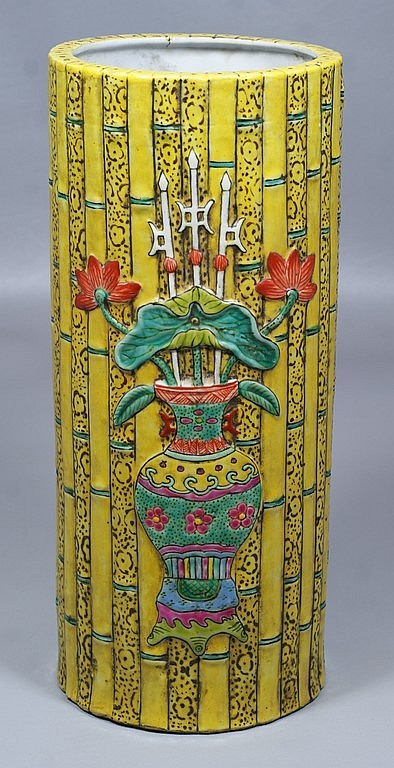 Chinese Porcelain Vase with bamboo and Famille rose decoration, 11-3/8