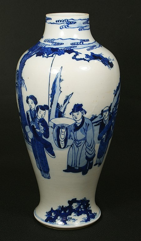 Blue and white Chinese porcelain vase with figural landscape decoration, top reduced, 14 5/8