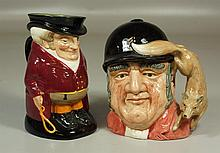 2 Royal Doulton character toby jugs, The Huntsman, with chip to rim, and Gone Away, 8