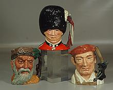 3 Royal Doulton toby mugs, The Guardsman, Robinson Crusoe & Blacksmith, marked, 8