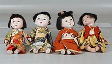 (4) Japanese dolls with porcelain heads