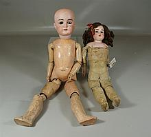 (2) German, Kestner dolls: one (1) is mold 167; jointed composition body, 23
