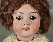 German Heinrich Handwerck bisque head child doll (inelligible mold #); sleep eyes, bisque head, composition ball jointed body, open ...