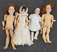 (4) German Armand Marseille bisque dolls to include:  one (1) mold 390; 23