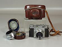 Voigtlander Prominent 35mm film camera, with Ultron f2/50mm lens, original leather case, with hood and (1) UV filter  attachment