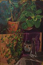 F Buscher, American, 20th Century, oil on masonite, Still life with potted plants and vases, signed and dated 1929 lower right, 29 3...