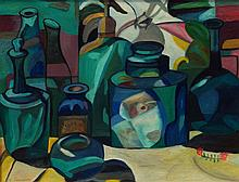 M Cummins, American, 20th Century, acrylic on canvas, Still Life with Blue Bottles, signed lower right, 17 1/2