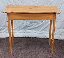 American primitive pine side table, 19th Century, rectangular top and outset corners on tapering legs, 28-1/2