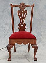Carved mahogany Queen Anne style side chair, 20th c