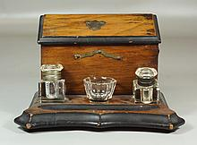 Continental walnut letter box & inkstand with 2 crystal inkwells, 11