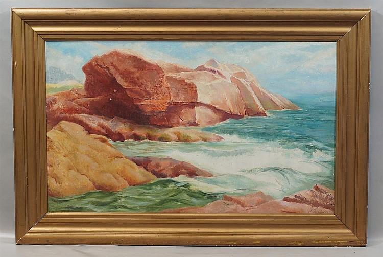 William Henry Gardner, American, b 1902, Oil on masonite, Rocky Seascape, Signed lower right, 15 3/4