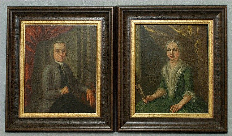 Tethart Phillip Christian Haag, Dutch, 1737-1812, (2) oils on copper plates, portraits of a couple, 11