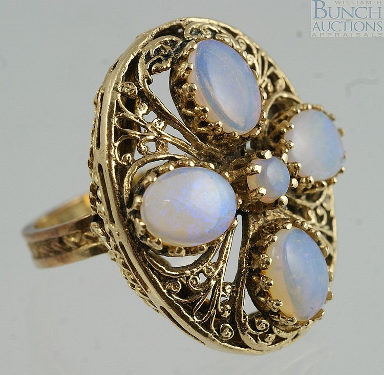 14K YG ladies ring with 5 opals, size 6 3/4, 7.0 dwt