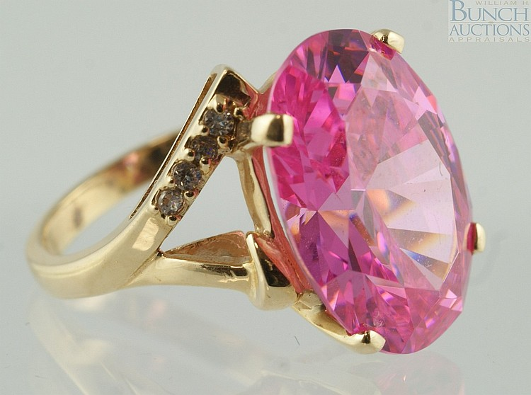 14K YG pink tourmaline ladies ring, 18 x 14mm stone, size 5, 5.5 dwt