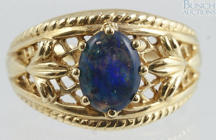 14K YG blue cabochon, probably lapis, ladies ring, size 6, 2