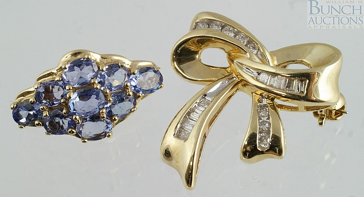 (2) 14K YG items, bow pin with 15 small round/baguette diamonds, 7/8