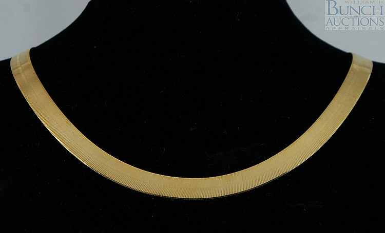 14K YG flat necklace, Italy, 18
