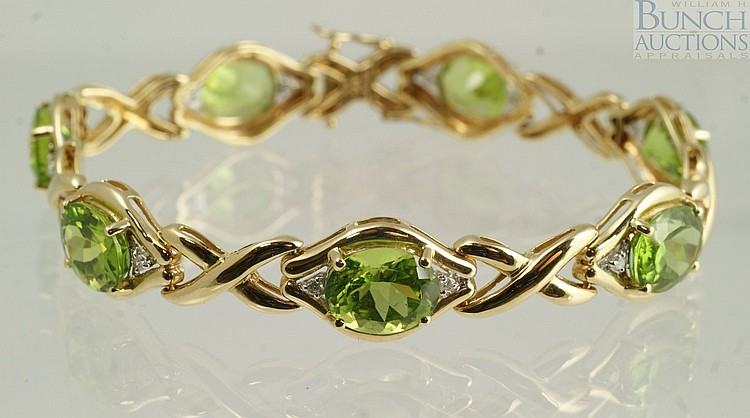 14K YG tourmaline and diamond bracelet, 7 1/4