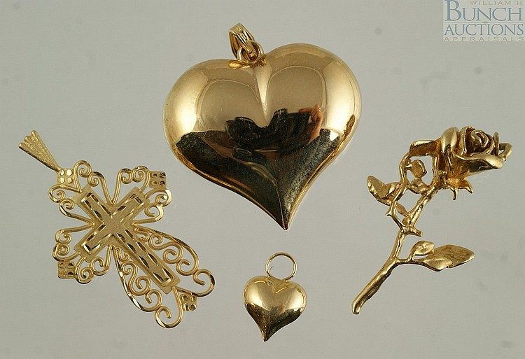 (4) 14K YG pendants, 2 hearts, rose, cross, 8.5 dwt