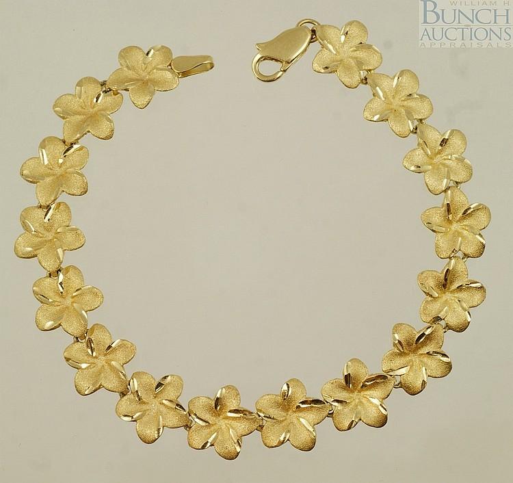 14K YG floral link bracelet, 6.7 dwt
