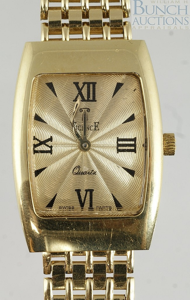 14K YG Milor wristwatch, outside back of case is gold, inside is not, 22
