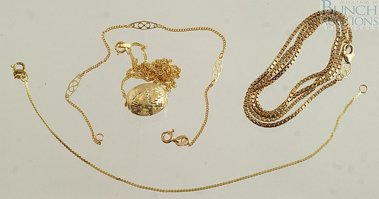 14K YG necklace with egg shaped sliding pendant, another necklace chain, 2 bracelet chains,5.4 dwt