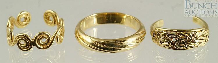 (3) 18K YG rings, 2.9 dwt