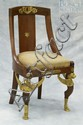 Mahogany French Empire Side Chair, legs with gilt bronze winged Griffin mounts, other gilt bronze mounts, 34
