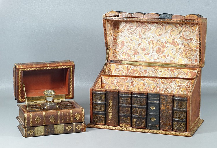 2 Antique Book Boxes, refitted one as a Tantalus with liquor bottle and 4 glasses, the other as a letter box, the largest 8