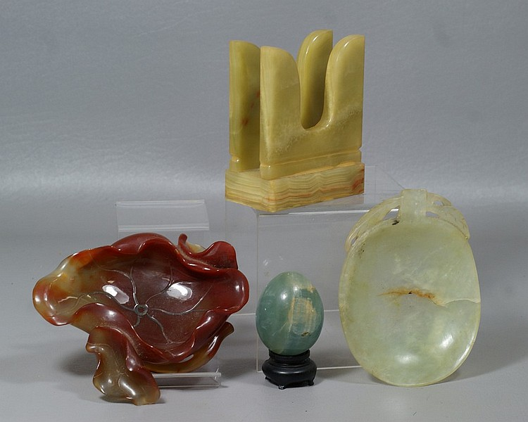 4 pc jade/hardstone lot incl shallow leaf form ashtray, hairline fracture, green/brown leaf dish, green egg, banded agate letter sta...