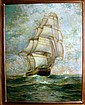Oil Painting, Clipper Ship on the High Seas.