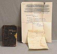 Personal Bible and Letter to 1906 Confederate Reunion