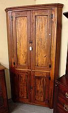 19th Century American 4 Blind Door Corner Cupboard