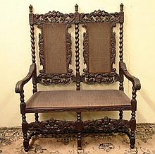 19th Century period carved and pierced Walnut Open Settee