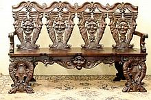 Extremely rare German Carved Bench