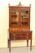 19th Century Federal 2 piece Mahogany Tambour Writing Desk and Bookcase, Mass