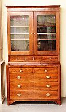19th Century Connecticut Burl Walnut 2 piece Step Back secretary desk and Bookcase