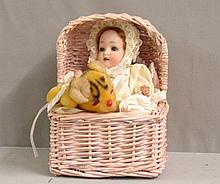1900-1916 Bisque head/ Composition Baby Doll in Cradle