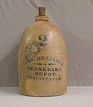 Jas. Benjamin Stoneware Depot Pottery Crock