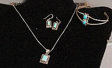 Three Piece Turquoise Jewelry Set
