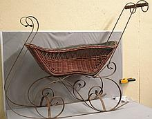 19th Century Wicker Baby's Snow Sled