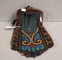 Antique Beaded Purse with Celluloid Handle